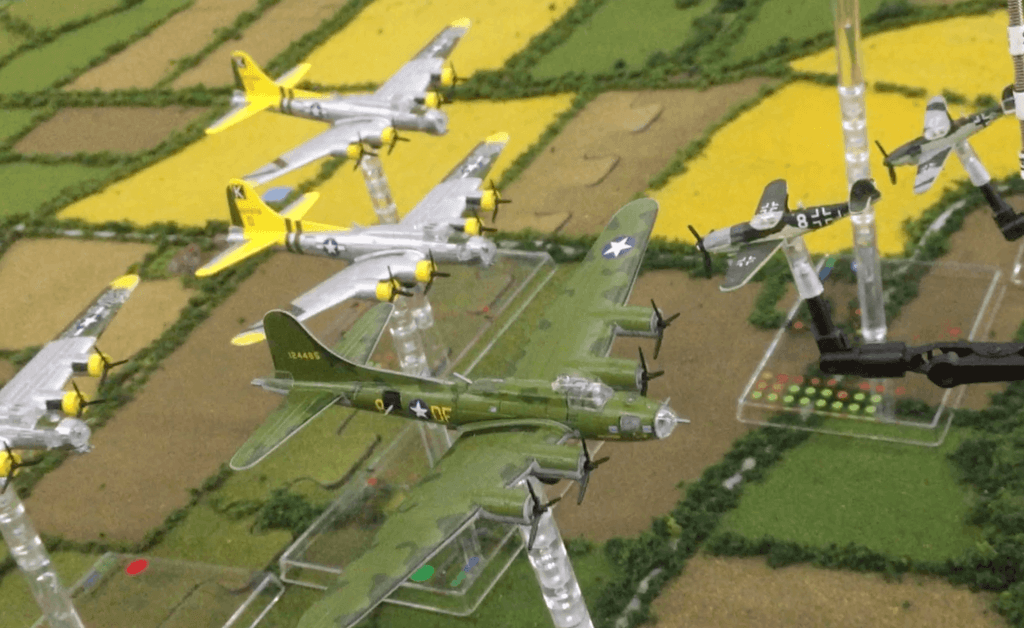 Multiple B17 Flying Fortress planes on a game mat.